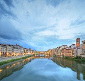 picture of trinity  - Ponte Vecchio view from St Trinity bridge at evening - JPG