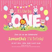 stock photo of baby sheep  - 1st Birthday Party Invitation Card - JPG