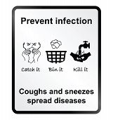 image of sneezing  - Prevent infection public health information sign isolated on white background - JPG