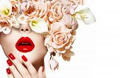 image of rose close up  - Fashion Sexy Woman with flowers - JPG