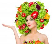 pic of vegetarian meal  - Beauty girl with Vegetables hair style - JPG