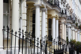stock photo of victorian houses  - walk down the streets around notting hill - JPG
