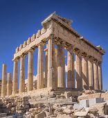 stock photo of akropolis  - Parthenon temple on the Acropolis of Athens - JPG