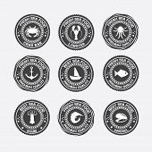 image of restaurant  - Set of vintage and modern seafood logo restaurant labels - JPG