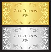 image of coupon  - Luxury gift coupon with gold and silver victorian ornament - JPG