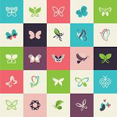 picture of flying-insect  - Set of flat design butterfly icons for websites - JPG