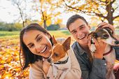 foto of dog park  - Portrait of smiling young couple with dogs outdoors in autumn park - JPG