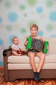 picture of accordion  - musical ensemble of two brothers  - JPG
