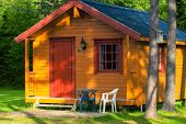 stock photo of house woods  - house in the woods at norwegian camp - JPG