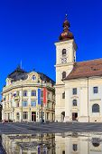 image of sibiu  - Main square in old town Sibiu - JPG