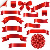 pic of ribbon bow  - Big Red Ribbons Set With Gradient Mesh - JPG