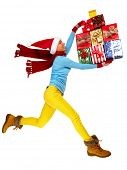 stock photo of crazy hat  - Happy running Woman with Xmas gifts isolated white background - JPG