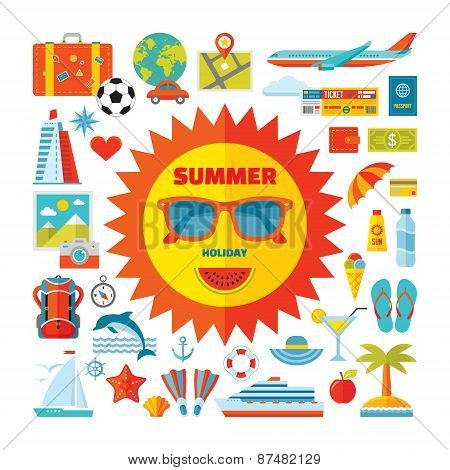 Summer occasion - vector symbols set in level style plan. Summer signs accumulation.