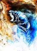 foto of tiger cub  - painting abstract tiger collage on color space background wildlife animals - JPG