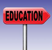 stock photo of school building  - education road sign learn and study to gather knowledge and wisdom  building knowledge go to school college or university  - JPG