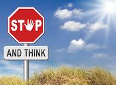 pic of wise  - stop think act making a wise decision safety first sleep it over and use your brain  - JPG