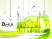 stock photo of kareem  - Illustration of a mosque with hanging lantern on colourful yellow and green background for holy month of prayers - JPG