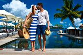 picture of jetties  - Couple kissing near poolside jetty at Seychelles - JPG