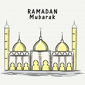 image of ramadan mubarak  - Illustration of a mosque on grey background - JPG