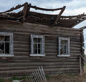 stock photo of abandoned house  - old abandoned house in the russian province - JPG