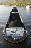 stock photo of moselle  - A barge carrying coal along the Moselle in Germany - JPG