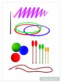 image of gymnastic  - Illustration Collection of Rhythmic Gymnastic Equipments Clubs Ball Hoop Ribbon and Rope for Professional Artistic Gymnastic Challenge - JPG