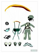 pic of aerobatics  - Illustration Collection of Parachute or Skydiver Equipment and Accessory Isolated on White Background - JPG