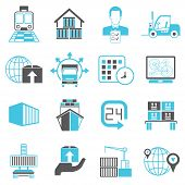 picture of logistics  - set of 16 logistics and shipping icons - JPG