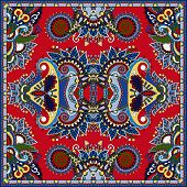 stock photo of red-necked  - red silk neck scarf or kerchief square pattern design in ukrainian karakoko style for print on fabric - JPG