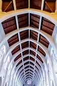 pic of altar  - View toward the altar in a church with arched ceiling - JPG