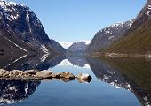 stock photo of fjord  - Beautiful view of the Norwegian fjord - JPG