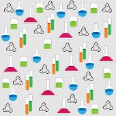 stock photo of beaker  - background of the test tubes flasks and beakers with colored liquid - JPG