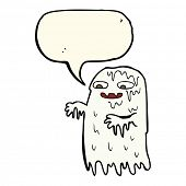 foto of grossed out  - cartoon gross slime ghost with speech bubble - JPG
