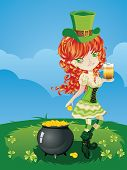 stock photo of leprechaun  - Pretty leprechaun girl on grass field St - JPG