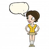 image of short skirt  - cartoon happy woman in short skirt with speech bubble - JPG