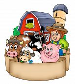 foto of farm animals  - Banner with barn and country animals  - JPG