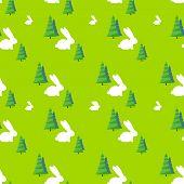 stock photo of rabbit year  - green tree white rabbit pattern vector illustration - JPG