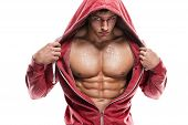 stock photo of abs  - Strong Athletic Man Fitness Model Torso showing six pack abs - JPG