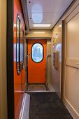 picture of railroad car  - The image of corridor in the compartment car - JPG