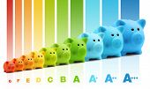 picture of efficiencies  - energy class efficiency scale savings of colorful piggy bank - JPG