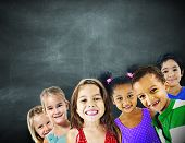 stock photo of diversity  - Children Kids Diversity Education Happiness Cheerful Concept - JPG