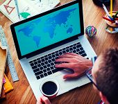 stock photo of globalization  - World Global Cartography Globalization Earth International Concept - JPG