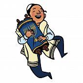 foto of tora  - jewish boy dancing with Torah - JPG