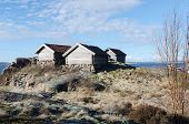 image of old boat  - Three old boat House on the westcoast in sweden - JPG