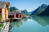 picture of fjord  - View over the fjord Fjaerlandsfjord and the small village of Mundal  - JPG