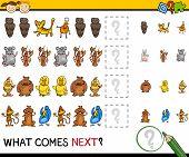 pic of brain teaser  - Cartoon Illustration of Completing the Pattern Educational Game for Preschool Children - JPG