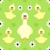 foto of baby goose  - Farm Seamless background with funny happy goose - JPG