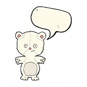 pic of bear-cub  - cartoon polar bear cub with speech bubble - JPG