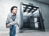 stock photo of elevators  - portrait man and 3d elevator - JPG