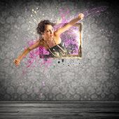 picture of explosion  - Girl comes from an explosion of colors - JPG